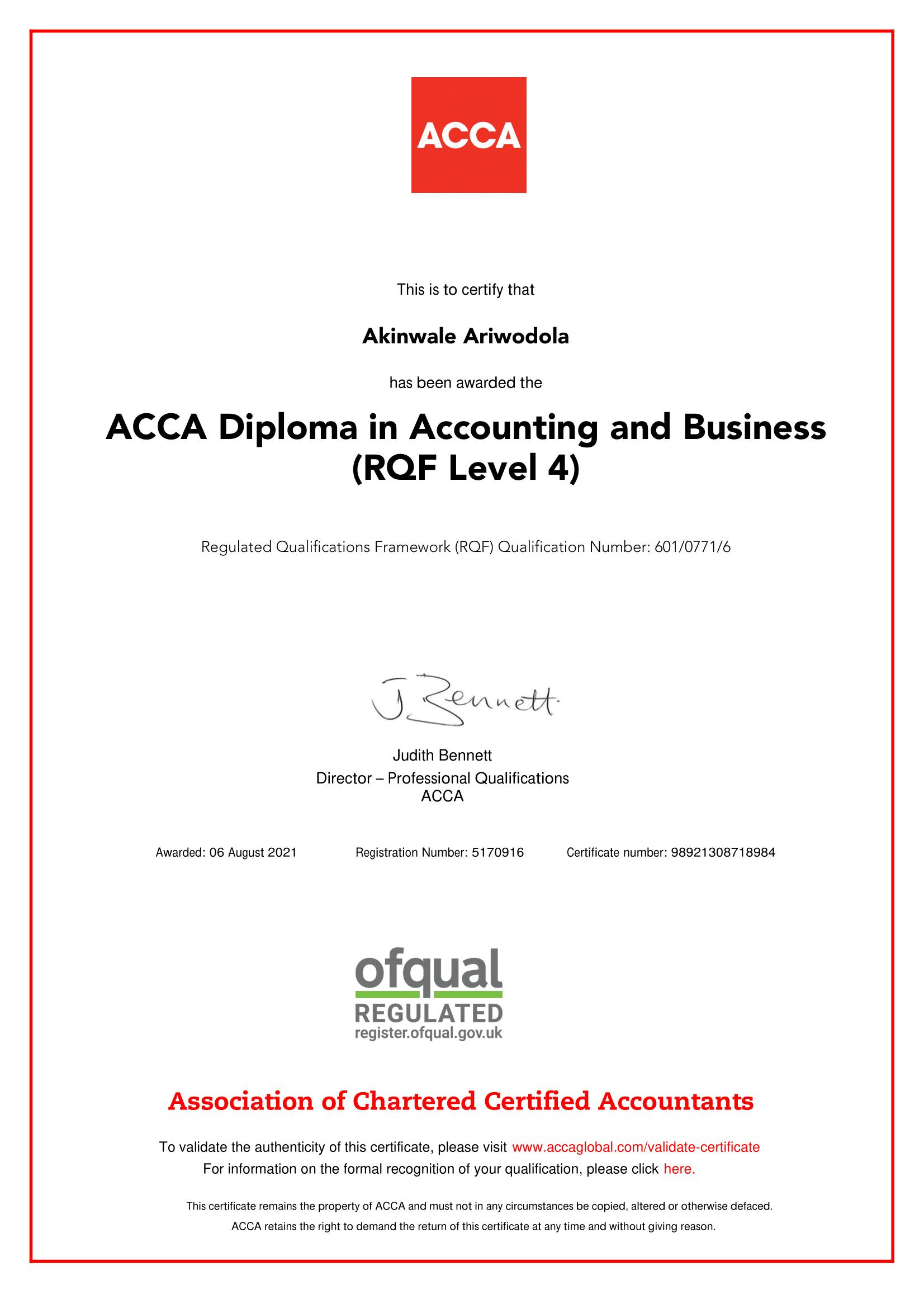 ACCA Diploma in Accounting & Business - Akinwale Ariwodola
